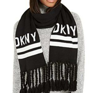 DKNY White Logo Stadium Scarf With Tassel Fringe